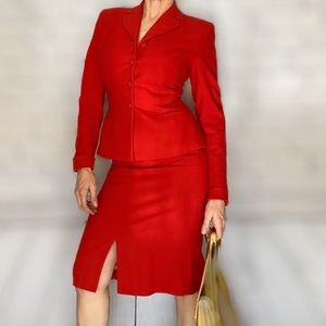 Mid Century Cherry Red Wool Suit - Circa 1960s